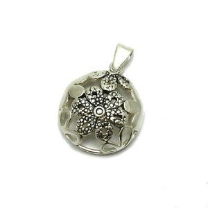 Uhren & Schmuck KüHn Sterling Silber Anhänger 925 Blume Pe001199 Empress Echtschmuck