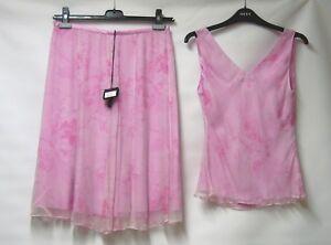 Bnwt Luxury Silk Floral Skirt Pink Top 12 Overlay Renato Uk 100 Nucci Suit amp; rIHqrxR