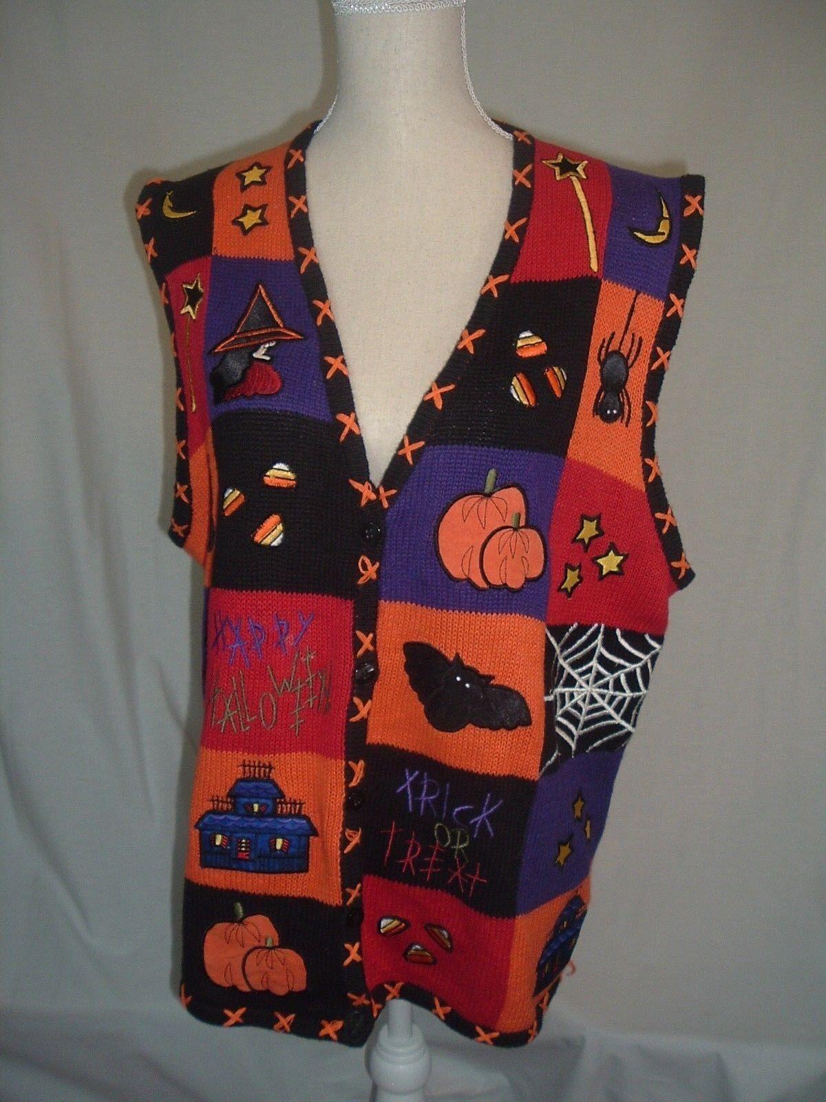 Bobbie Brooks Halloween Sweater Vest Women's XL Patchwork Ramie Cotton