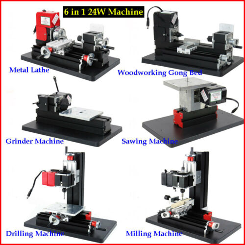 DIY 6 in1 Multifunction Mini Metal Lathe Drilling Milling Grinder Sawing Machine