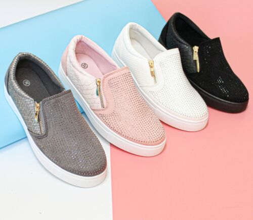 SALE New Womens Ladies Slip On Studded Trainer Flat Zip Work Casual Gym Shoes