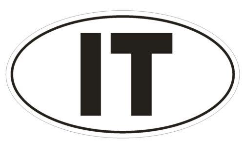 IT Italy Country Code Oval Bumper Sticker or Helmet Sticker D962
