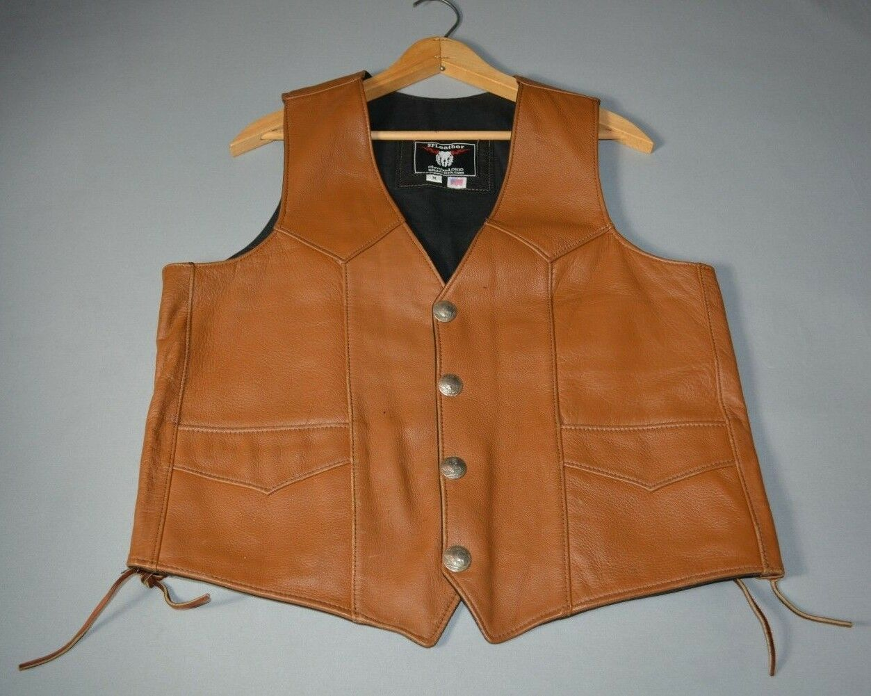 S.P. Leather Brown Leather Vest - Lace Up Sides - Size M