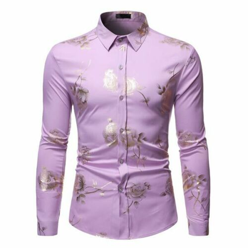 Dress Shirts Floral Shirt Long Sleeve Mens Top Stylish Luxury Slim Fit Casual