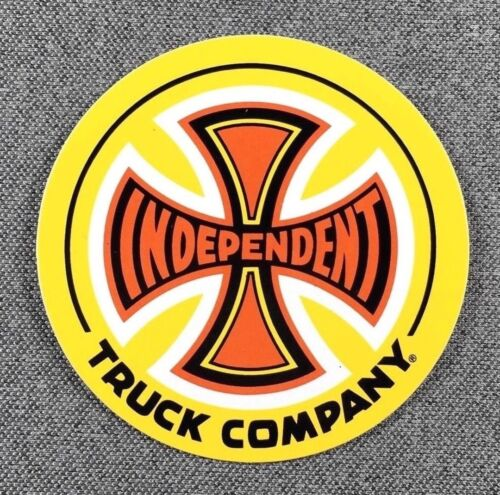 Independent Truck 77 Skateboard Sticker CROSS Yellow 3in si