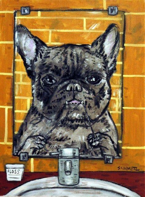 french bulldog art dog  folk painting 4x6 gift flossing bathroom GLOSSY PRINT