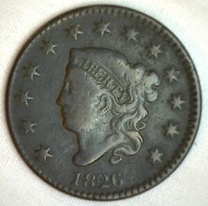 1826-Coronet-Large-Cent-US-Copper-Type-Coin-VG-Very-Good-N7-Variety-Penny-M3