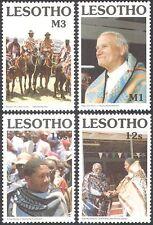 Lesotho 1990 Blankets/Textiles/Weaving/Pope John Paul II/Horses 4v set (n17056)