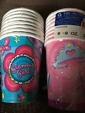 Princess Pink & Glamour Girl*2 x 8 Paper Cups*Birthday Party*Tiara Wand