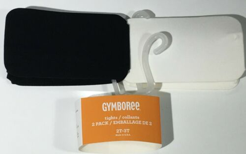 GYMBOREE UNIFORM BLACK /& IVORY SOLID BASIC TIGHTS 2-PACK  2 3 NWT