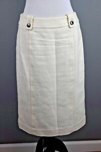 Talbots-Women-039-s-Ivory-Textured-Black-Button-Detail-Lined-Straight-Skirt-Size-6