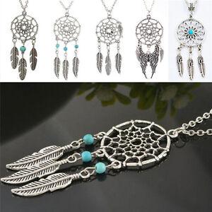 Fantatstic-Dream-Catcher-Feather-Pendant-Necklace-Pretty-Retro-Chain-NecklaCP