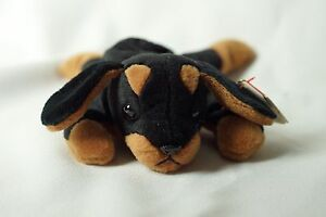 555a1fb4384 Ty Beanie Baby Doby 1993 Dog w  Tag ERRORS Plush Toy RARE PVC NEW ...