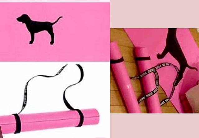 Victoria/'s Secret PINK YOGA MAT Dog Logo Strap BLACK NWT Exercise Gym Sport NEW