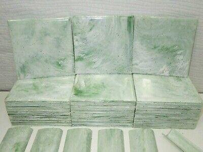 "vintage 4.25"" plastic wall bathroom tile mint green white"