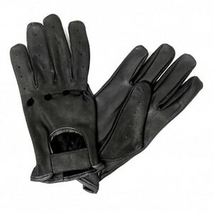 Black-Soft-Leather-Gloves-Unisex-Driving-Motorcycle-Biker-ATV-Riding-Vented