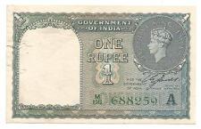 British India,1940,Rupee 1 XF Note,Inset A,Prefix M,Serial No in Green,C.E.Jones
