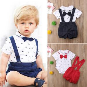 7f1e26e563fc 2PCS Newborn Infant Baby Boy Outfits Clothes Set Romper Bodysuit+ ...