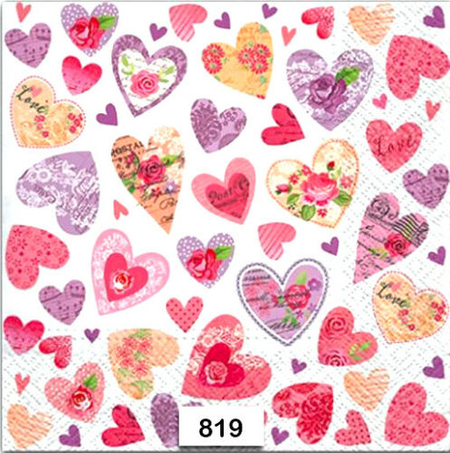LOVE TWO Individual Paper Luncheon Decoupage Napkins VALENTINE 819 HEARTS
