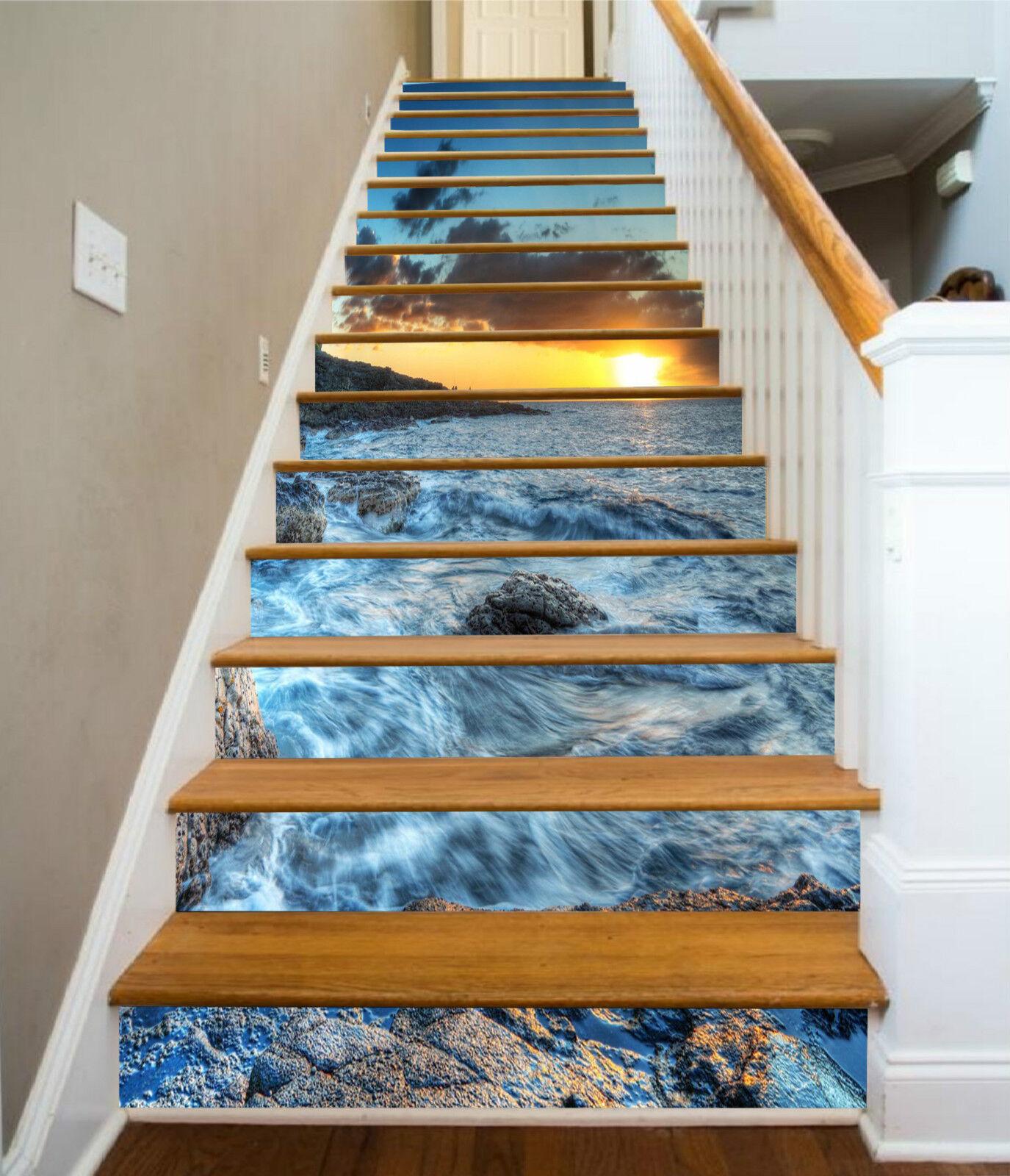 3D Abend Welle 211 Stair Risers Dekoration Fototapete Vinyl Aufkleber Tapete DE