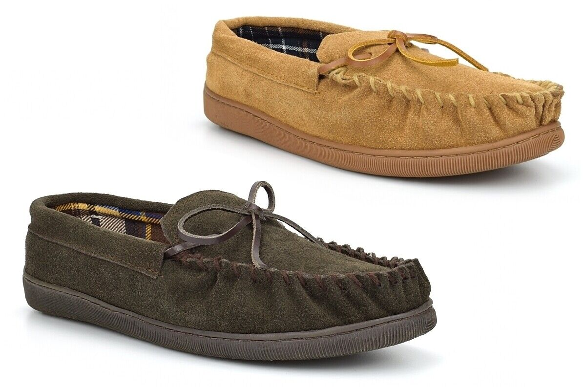 Mens Moccasin Slippers Mens Suede Slippers Real Leather Suede Rubber Sole Size