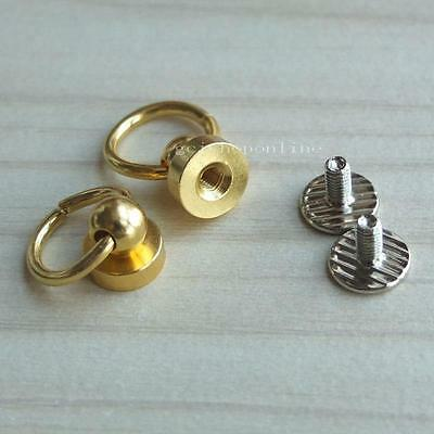 """5 10 20 50 Head Button Stud Screwback spot O ring 4 Screw Chicago nail 1/4"""" Gold"""
