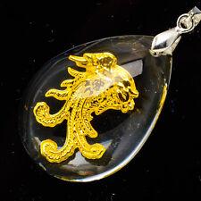 "24K Yellow Gold .999 Teardrop Auspicious Phoenix Crystal Pendant 1 1/2"" Jewelry"