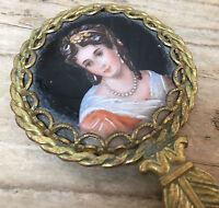Antique Hand Mirror Victorian Bust Woman Black Enamel Leaf Lady w Pearls Painted