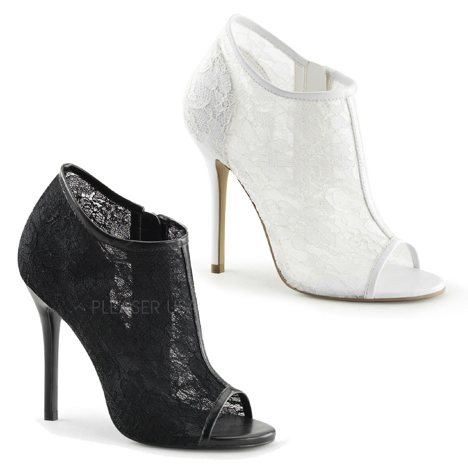 FABULICIOUS By Pleaser - Amuse-56 Open Toe Bootie With With With Lace Overlay Patent Trim 3a8c1e