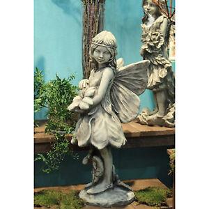 Steinfigur-Skulptur-FLOWER-FAIRY-034-Schluesselblume-034-Steinguss-Gartenfee-Vidroflor