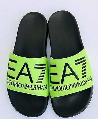 Emporio Armani Ea7 Lime & Black Sliders Sandals Shoes Sizes Uk 6 - 11 Bnib Mit Dem Besten Service
