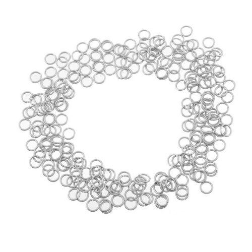 100 x anillos abiertos tono plata de acero inoxidable 6mm