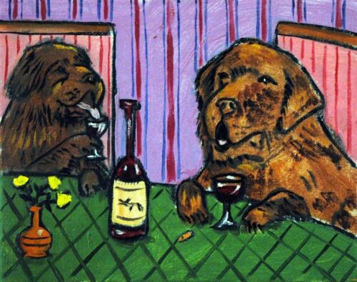 NEWFOUNDLAND DRINKING at the wine bar picture giclee DOG art print 11x14 schmetz