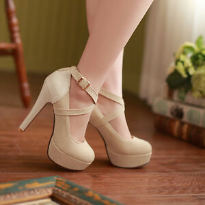 Fashion-Women-039-s-High-Heel-Stilettos-Platform-Ankle-Strap-Pumps-Sexy-Party-Shoes