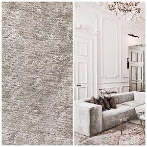 SWATCH-Designer-Velvet-Chenille-Fabric-Antique-Silver-Gray-Upholstery
