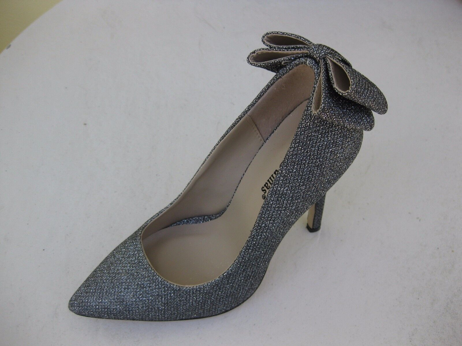 Pierre Dumas Womens Shoes NEW Bow $55 Alessia Pewter Steel Bow NEW Pump 7.5 M 6a31e0