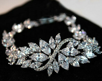 Womens White Sapphire Chain Bracelets 10KT White Gold Filled Wedding Jewelry Hot