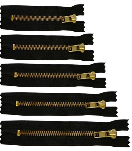 """NUOVO Ottone Jean Pantalone Zip N. 5 Zipper chiuso fine BLACK 4 """" 5"""" 6 """" 7"""" E 8 """"POLLICI"""