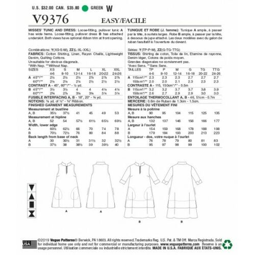 Vogue sewing pattern V9376 Women/'s LOOSE FIT Pullover Tunique Robe