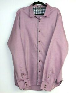 Ted-Baker-London-Men-039-s-Button-Up-Mauve-Long-Sleeve-Shirt-Size-XXL