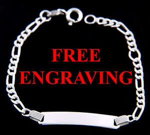 Image Is Loading Sterling Silver Figaro Child Id Bracelet Free Engraving