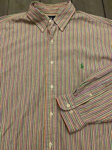 Polo-Ralph-Lauren-Button-Down-Stripe-Shirt-Men-039-s-17-5-XL-green-pink-blue