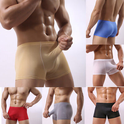 Sexy Men's Long Bulge Pouch Brief Boxers Underwear Smooth Sleeve Pouch Boxers