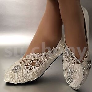 Image Is Loading White Ivory Pearls Lace Crystal Wedding Shoes Flat