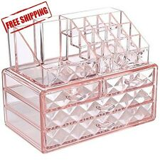 Acrylic Pink Diamond Jewelry Makeup Organizer Case Box Storage Display Drawer