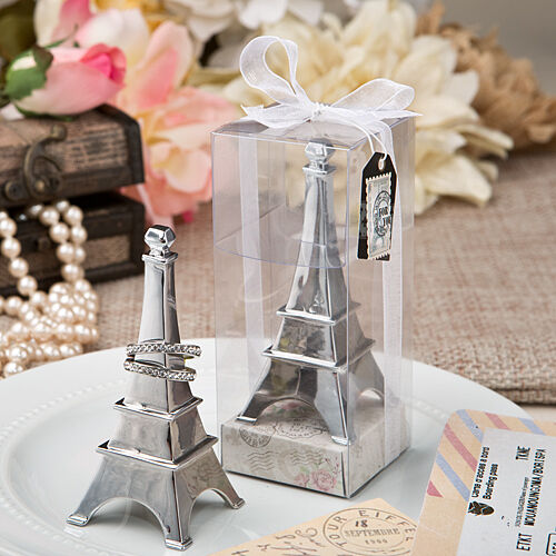 Eiffel Tower Chrome Metal Ring Holder Bridal Shower Wedding Favors
