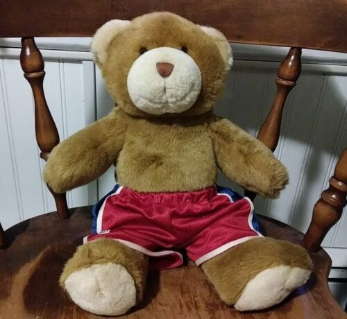 Vintage Build A Bear Brown Plush Stuffed with NBA Basketball Shorts