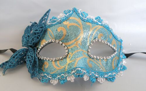 Butterfly Venetian Masquerade Party Face Mask Blue and Gold * New *