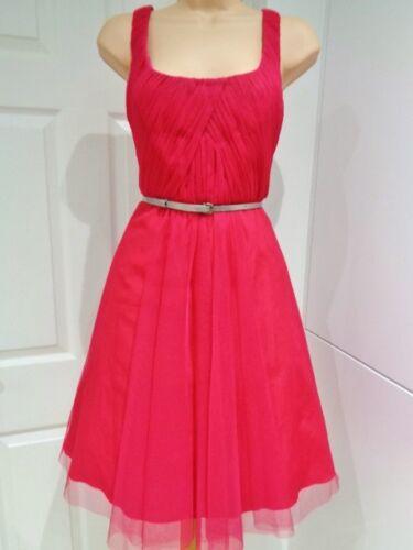Coast 10 Pleat Belt Mesh Zahiri Lace Ruffed Raspberry Red Bnwt £ 125 Dress 50's qwxqUIrv8