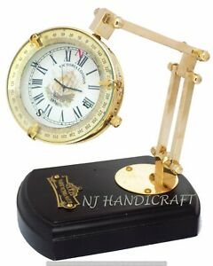 The Best Antique Style Brass Table/desk Clock With Vintage Maritime Brass Compass Maritime Clocks Antiques